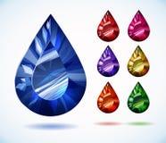 Diamonds and gemstones colorful vector set Stock Photos