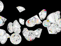 Diamonds or gemstones isolated on black Royalty Free Stock Photos