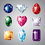 Diamonds and gemstones  set Royalty Free Stock Images