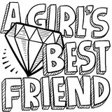 Diamonds are a girl's best friend sketch vector illustration