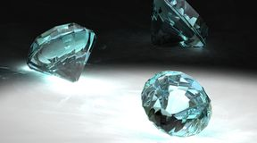 Diamonds on Gray. 3D Rendering of Diamonds lit with a spotlight on a gray background Royalty Free Stock Images