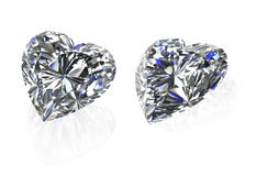 Diamonds heart shape set on white-3D render Stock Photos