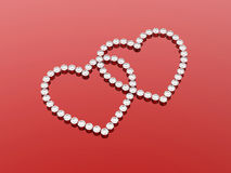 2 diamonds hearts. Stone on a red background stock illustration
