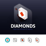 Diamonds icon in different style Royalty Free Stock Photos