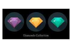 Diamonds icons set in different colors vector illustration