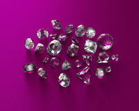 Diamonds isolated on white background. Usable for catalogue of gemstones, cites etc Stock Images