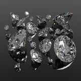 Diamonds jewel on black surface Royalty Free Stock Photos