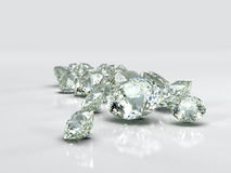 Diamonds jewel large group. Beautiful  shape emerald image with reflective surface. Render brilliant jewelry stock image. Royalty Free Stock Image