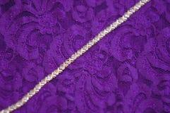 Diamonds and Lace. Diamond bracelet on a lace backround Stock Photo