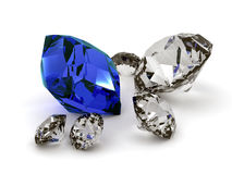 Diamonds. A lot of diamonds with a blue touch Royalty Free Stock Images