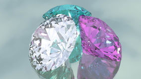 Diamonds on mirrored background. Fully rendered diamonds on mirrored background Royalty Free Stock Images