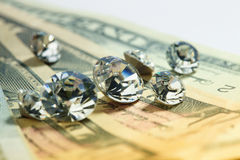 Diamonds and money Stock Photos
