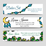 Diamonds and moon banners set. Hand drawn banners set design with diamonds and moon. Vector illustration Stock Photos