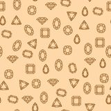 Diamonds pattern. Seamless diamond and jewels on red pattern vector illustration Royalty Free Stock Photo