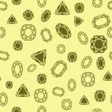 Diamonds pattern. Seamless diamond and jewels on yellow pattern vector illustration Royalty Free Stock Photos