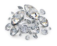 Diamonds. Placer of diamonds. 3d image. White background Stock Photography