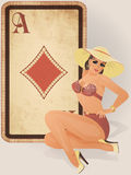 Diamonds poker card with pin up girl vector illustration