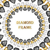 Diamonds round frame. Vector illustration jewelry. Abstract vector border on white background royalty free illustration