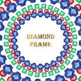 Diamonds round frame. Vector illustration jewelry. Abstract vector border on white background stock illustration