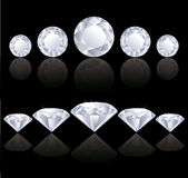 Diamonds rows. With reflection. illustration Royalty Free Stock Images