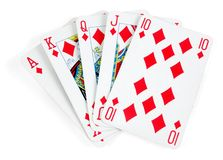 Diamonds royal flush. In playing cards isolated on white Royalty Free Stock Photo
