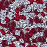 Diamonds and Rubies. Seamless Texture Tile Royalty Free Stock Images