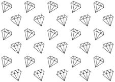 Diamonds Seamless Pattern. Simple seamless diamonds pattern. Falling diamonds black outlines on white background. Luxury and richness symbol. Repeatable gems Stock Photography