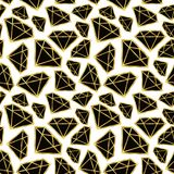 Diamonds seamless pattern. Vector background in black and gold color. Fashion wrapping or fabric pattern. Diamonds seamless pattern. Vector background in black Royalty Free Stock Photo