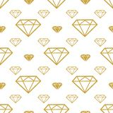 Diamonds seamless pattern. Vector gold brilliant background.. Fashion wrapping or fabric pattern Stock Image
