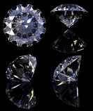 Diamonds set. With reflection isolated on black background. Clipping path Stock Images