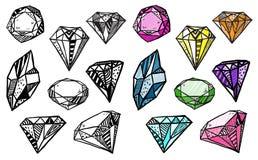 Diamonds. Set of doodle crystals. stock illustration