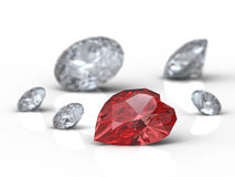 Diamonds  (shallow Dof). Heart shaped diamond on white background with shallow Dof Stock Photography