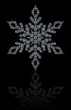 Diamonds snowflake on black background. A snowflake made by several round white diamonds set on a black background Stock Photography