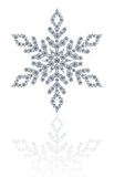 Diamonds snowflake on white background. A snowflake made by several round white diamonds set on a white background Royalty Free Stock Photo