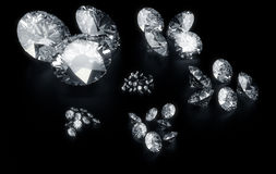 Diamonds sorted according to size Royalty Free Stock Images