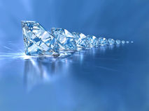 Diamonds. Sparkling diamonds set on blue background Stock Image