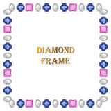 Diamonds square frame Stock Photography