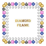 Diamonds square frame Stock Photos