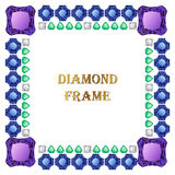 Diamonds square frame. Vector illustration jewelry. Abstract vector border on white background stock illustration