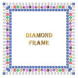 Diamonds square frame. Vector illustration jewelry. Abstract vector border on white background royalty free illustration