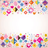 Diamonds, stars, dots and hearts funky background Stock Photography