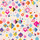 Diamonds, stars, dots and hearts funky seamless pattern. Diamonds, stars, dots and hearts funky pattern Stock Photo