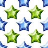 Diamonds Stars Seamless Pattern. Blue and Green Stock Image