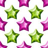 Diamonds Stars Seamless Pattern. Purple and Green Stock Images