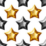 Diamonds Stars Seamless Pattern. Yellow and Black Stock Image