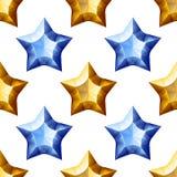 Diamonds Stars Seamless Pattern. Yellow and Blue Stock Photo