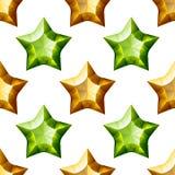 Diamonds Stars Seamless Pattern. Yellow and Green Stock Photos