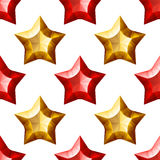 Diamonds Stars Seamless Pattern. Yellow and Red Stock Image