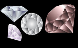 Diamonds  Stones. Set of  four sparkling diamonds stones  different weight and color Royalty Free Stock Photography