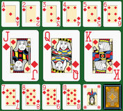Diamonds Suite Black Jack large figures. Playing cards, diamonds suite, joker and back. Faces double sized. Green background Stock Photos
